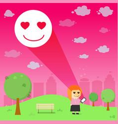Women through the emotional love resonance on vector