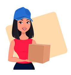 young cartoon girl from courier delivery services vector image