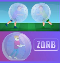 Zorb banner set cartoon style vector