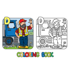 driver coloring book profession abc alphabet d vector image