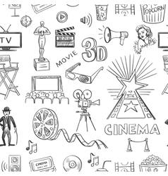 Hand drawn cinema pattern vector image