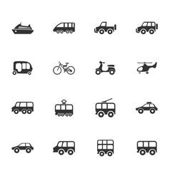 Public transport icons set vector