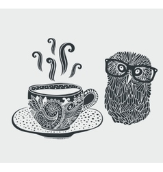 Retro of cute hipster owl vector image vector image