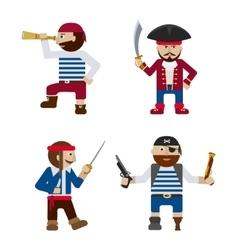 Set of funny pirates flat cartoon vector