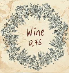 Wine label retro design with grapevine vector image