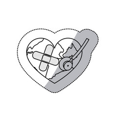 contour earth planet heart with stethoscope and vector image vector image