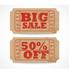 vintage paper sale ticket vector image