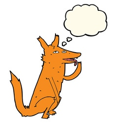 Cartoon fox licking paw with thought bubble vector