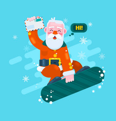 santa snowboarding merry christmas card with snow vector image