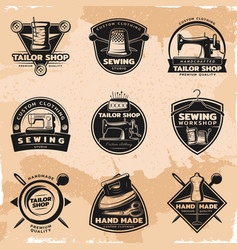 black sewing and tailor labels collection vector image vector image