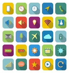 Mobile phone color icons with long shadow vector
