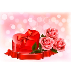 Valentines day background Three red roses with red vector image vector image