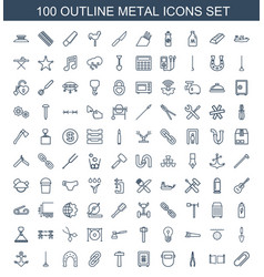 100 metal icons vector
