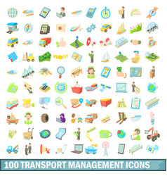 100 transport management icons set cartoon style vector image