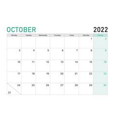 2022 october desk calendar vector