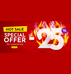 25 percent off hot sale banner with burning vector
