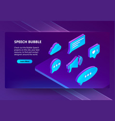 3d isometric icons of speech bubbles vector image