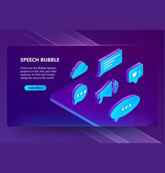 3d isometric icons speech bubbles vector image