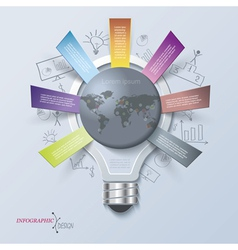 Abstract infographic with light bulb vector image
