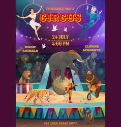 acrobats and animals performing circus arena vector image