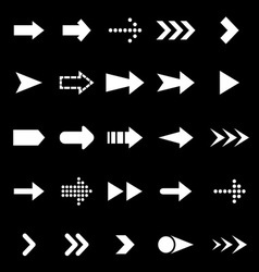 Arrow icons on black background vector image