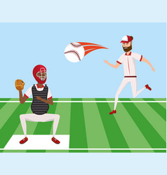 baseball game and players competition with ball vector image