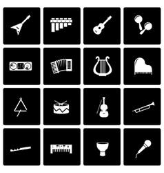 Black music instruments icon set vector