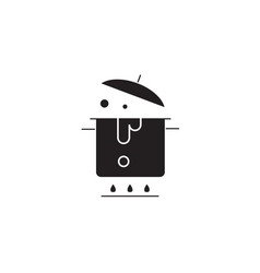 boiling pot black concept icon boiling pot vector image