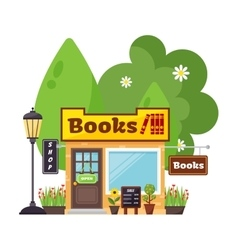 Books shop facade vector