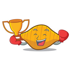 Boxing winner conchiglie pasta mascot cartoon vector