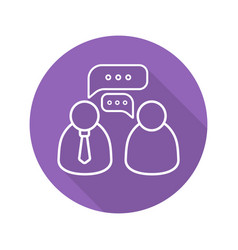 Business meeting flat linear long shadow icon vector