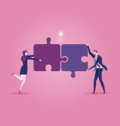 business team assembling jigsaw puzzle - business vector image