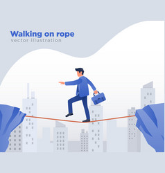 businessman walking on rope vector image