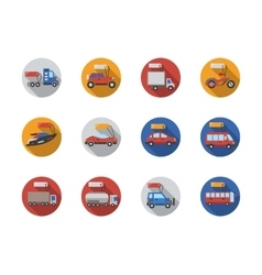 Car sale services round flat color icons vector