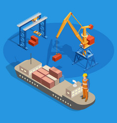 cargo ship isometric composition vector image