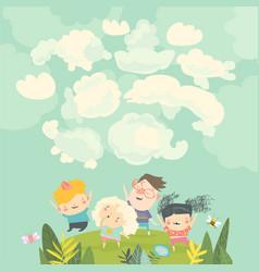 cartoon happy kids watching clouds in sky vector image