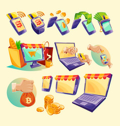 cartoon icons devices for online payments vector image
