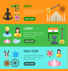 cartoon india banner horizontal set vector image