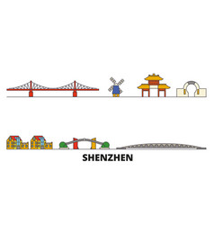 china shenzhen flat landmarks vector image