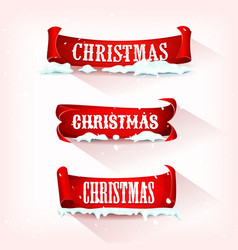 christmas parchment scroll with snow vector image