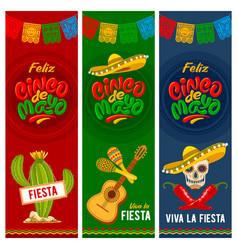 cinco de mayo banners set vector image