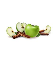 Cinnamon and green apples vector