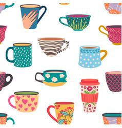 Coffee mug seamless pattern trendy hand drawn tea vector
