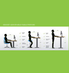 Correct postures for height adjustable and vector