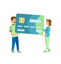 credit card man and woman carrying plastic object vector image
