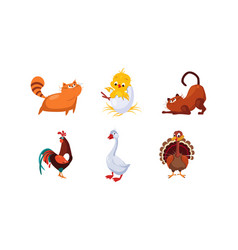 Cute cartoon farm animals and pets set cats cock vector