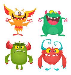cute cartoon monsters set cartoon monsters vector image