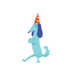 Cute dachshund dog in party hat funny cartoon vector