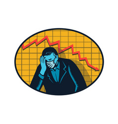 Depressed businessman pandemic crisis retro vector