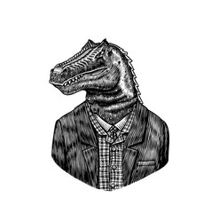 Dinosaur character in coat allosaurus tyrex vector